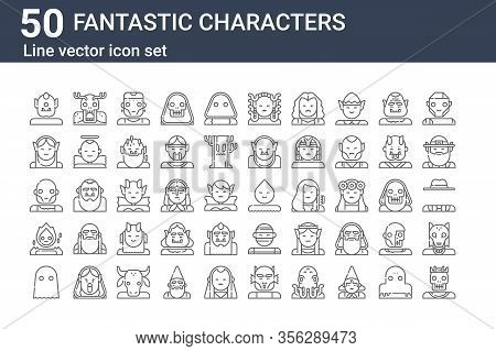 Set Of 50 Fantastic Characters Icons. Outline Thin Line Icons Such As Lord, Ghost, Spirit, Zombie, E