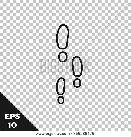 Black Line Footsteps Icon Isolated On Transparent Background. Detective Is Investigating. To Follow