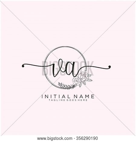 Va Letter Initial Beauty Monogram And Elegant Logo Design, Handwriting Logo Of Initial Signature, We