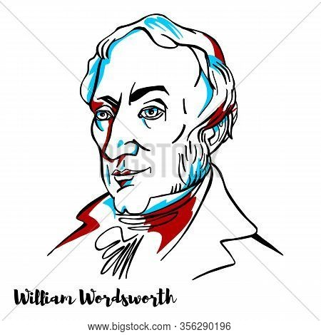 William Wordsworth Engraved Vector Portrait With Ink Contours.english Romantic Poet Who, With Samuel