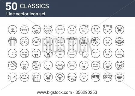 Set Of 50 Classics Icons. Outline Thin Line Icons Such As Laughing, Cry, Injury, Smile, Rainbow, Lau