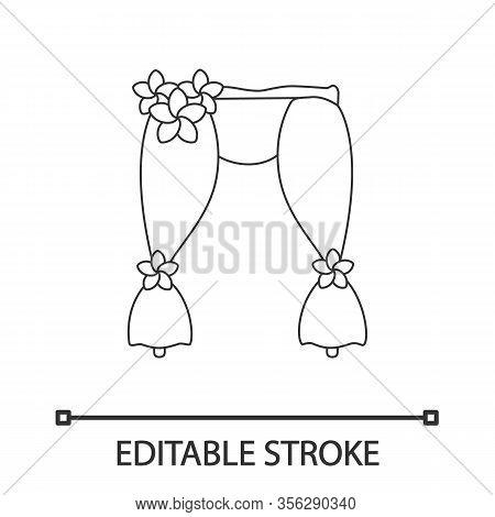 Wedding Arch Linear Icon. Holiday Decorations. Thin Line Illustration. Flower Arch. Wedding Arbor Ph