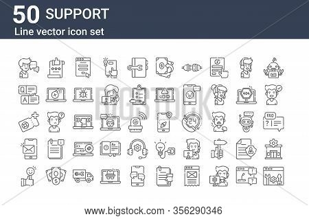 Set Of 50 Support Icons. Outline Thin Line Icons Such As Technical Support, Feedback, Mail, Support,