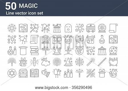 Set Of 50 Magic Icons. Outline Thin Line Icons Such As Potion, Pentagram, Magic Wand, Potion, Magic,