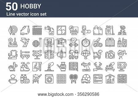 Set Of 50 Hobby Icons. Outline Thin Line Icons Such As Scrapbook, Pot, Baseball, Sewing, Gardening,