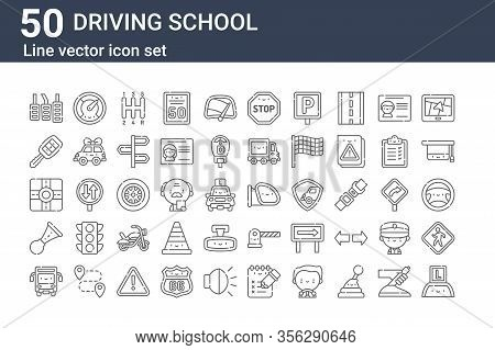 Set Of 50 Driving School Icons. Outline Thin Line Icons Such As Learning, Bus, Klaxon, Street, Car K