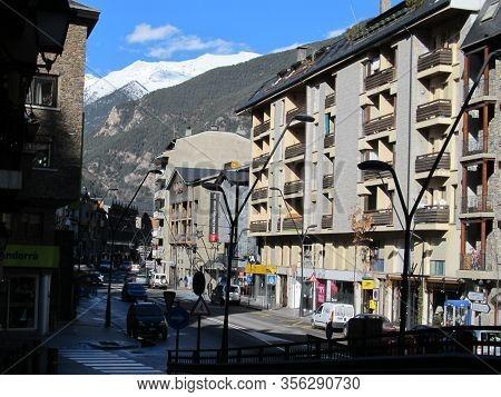 Andorra La Vella, Principality Of Andorra, January, 2012: Views Of The Streets Of Andorra La Vella I