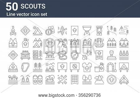 Set Of 50 Scouts Icons. Outline Thin Line Icons Such As Tent, Shore, Beanie, Animal, Life Vest, Fleu