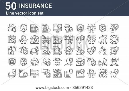 Set Of 50 Insurance Icons. Outline Thin Line Icons Such As Savings, Delivery Truck, Life Insurance,