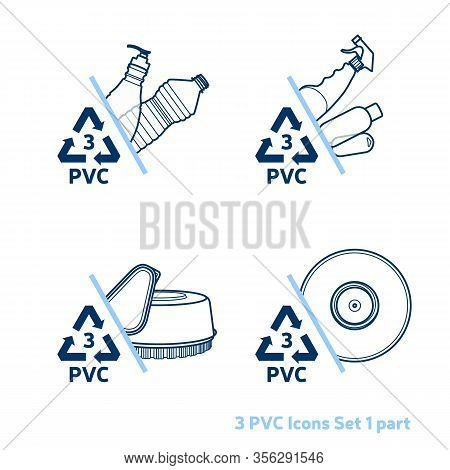 Recycling Code 3 (pvc - Polyvinyl Chloride) Outline Icons Set. Empty Clear Plastic Items On White Ba