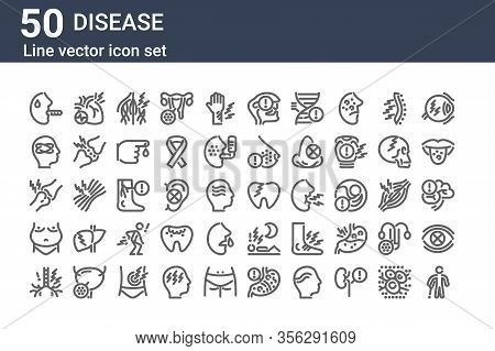 Set Of 50 Disease Icons. Outline Thin Line Icons Such As Crutch, Throat, Obesity, Arthralgia, Dizzy,