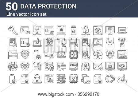 Set Of 50 Data Protection Icons. Outline Thin Line Icons Such As Phishing, Disk, Antivirus, Document