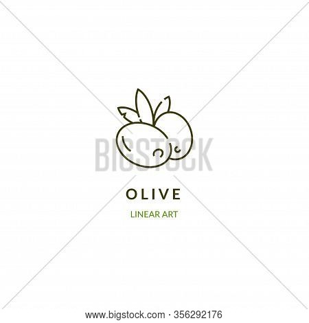 Olive Branch. Vector Illustration In Linear Style.