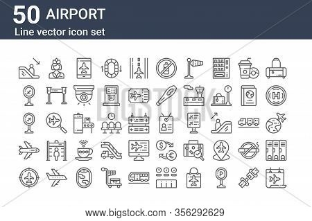 Set Of 50 Airport Icons. Outline Thin Line Icons Such As Calendar, Radar, Airplane, Airport, Airport