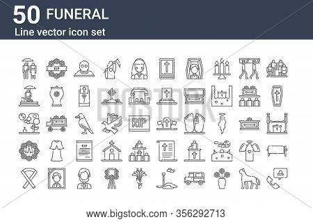 Set Of 50 Funeral Icons. Outline Thin Line Icons Such As Customer Service, Black Ribbon, Wreath, Gra