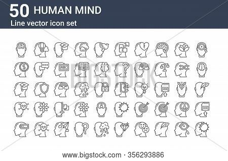 Set Of 50 Human Mind Icons. Outline Thin Line Icons Such As Happy, Exhausted, Death, Education, Gree
