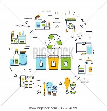Recycling Web Banner. Garbage Sorting. Zero Waste Lifestyle. Eco Friendly. Infographics With Linear