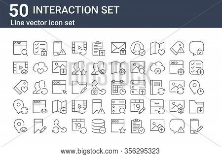 Set Of 50 Interaction Set Icons. Outline Thin Line Icons Such As Smartphone, Placeholder, Placeholde