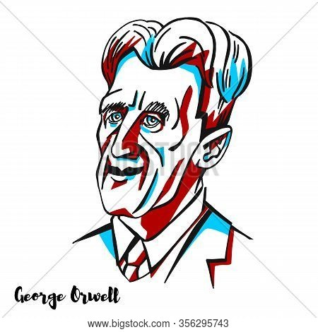 George Orwell Engraved Vector Portrait With Ink Contours. English Novelist And Essayist, Journalist