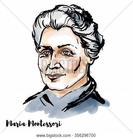 Maria Montessori Engraved Watercolor Vector Portrait With Ink Contours. Italian Physician And Educat