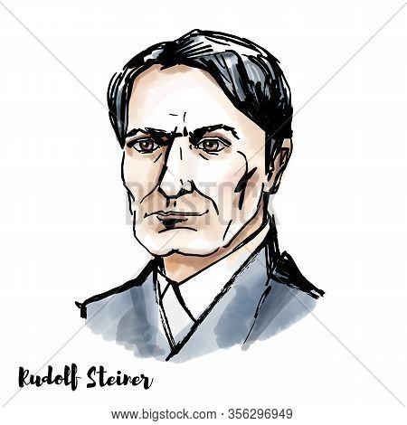 Rudolf Steiner Watercolor Vector Portrait With Ink Contours. Austrian Philosopher, Social Reformer,