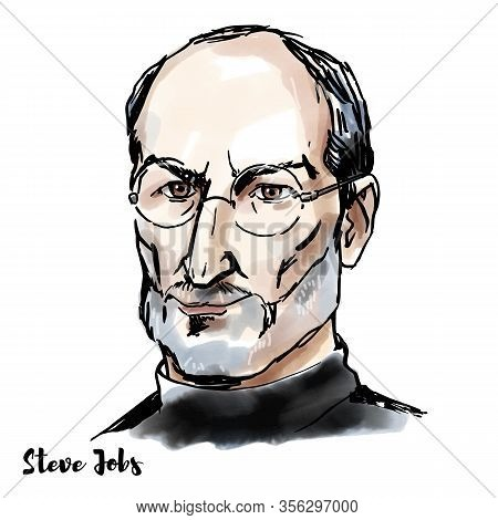 Steve Jobs Watercolor Vector Portrait With Ink Contours. American Business Magnate, Industrial Desig