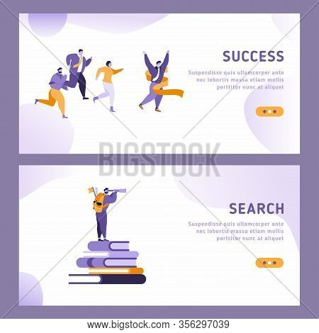 Business Vision Landing Page Template. Website Layout With Flat People Characters Flying On Paper Pl
