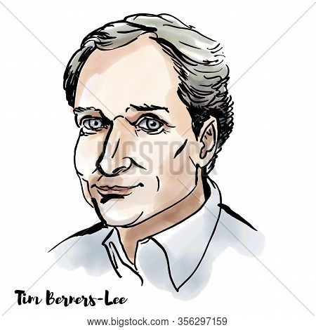 Young Tim Berners Lee Watercolor Vector Portrait With Ink Contours. English Engineer And Computer Sc
