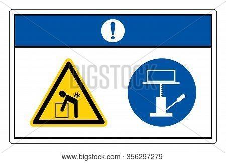 Notice Lift Hazard Use Mechanical Lift Symbol Sign, Vector Illustration, Isolate On White Background