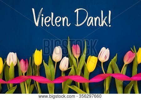 Colorful Tulip, Vielen Dank Means Thank You, Ribbon, Blue Background