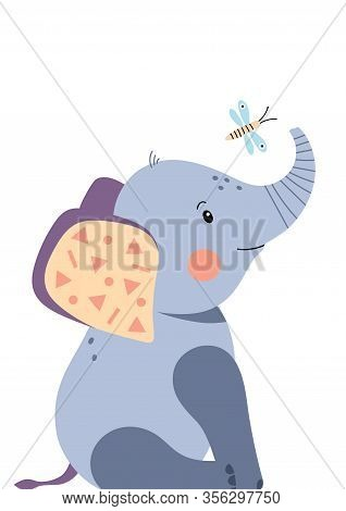 Cute Elephant And Dragonfly. Poster For Baby Room. Childish Print For Nursery. Design Can Be Used Fo