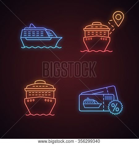 Cruise Neon Light Icons Set. Summer Voyage. Travel Agency. Cheap Cruise Deal, Trip Route, Ships In F
