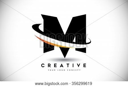 M, Swoosh, Curved, Rounded, Round, Cut, Logo, Letter, Design, Creative, Typography, Logo, Corporate,