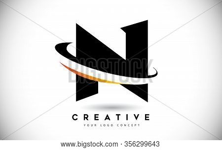 N, Swoosh, Curved, Rounded, Round, Cut, Logo, Letter, Design, Creative, Typography, Logo, Corporate,