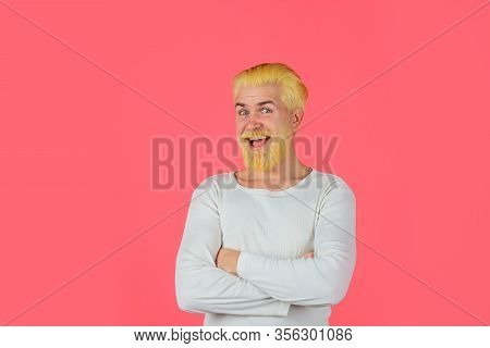 Barbershop. Smiling Man With Dyed Hair. Coloring Of Men's Hair. Bearded Man With Dyed Blonde Hair. H