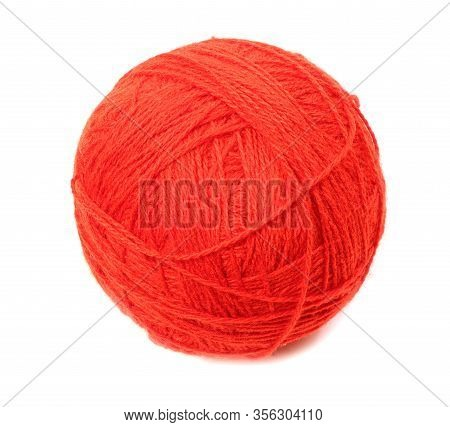 Clew Of Woolen Thread Isolated On A White Background. Red Ball Of Woolen.