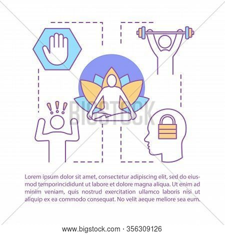 Overcoming Stress Concept Linear Vector Illustration. Mental Health. Article, Brochure, Magazine Pag