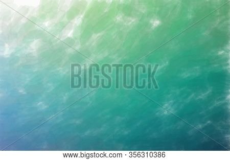Abstract Illustration Of Blue And Green Watercolor With Low Coverage Background.