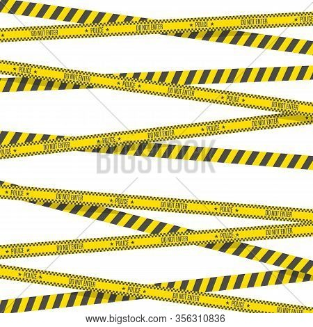 Black And Yellow Stripes. Crime Scene Or Police Danger Tapes. Barricade Tape Isolated On White Backg