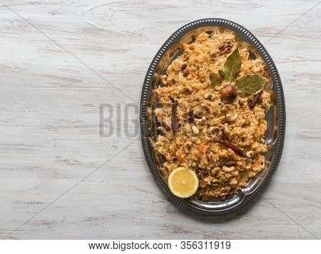 Traditional Arabic Basmati Rice With Vegetables. Arabic Cuisine. Vegetable Biryani. Top View, Copy S