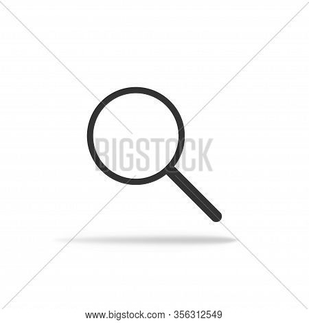 Lupe Icon In Miminalism. Magnifier With Shadow In Flat. Vector Eps 10