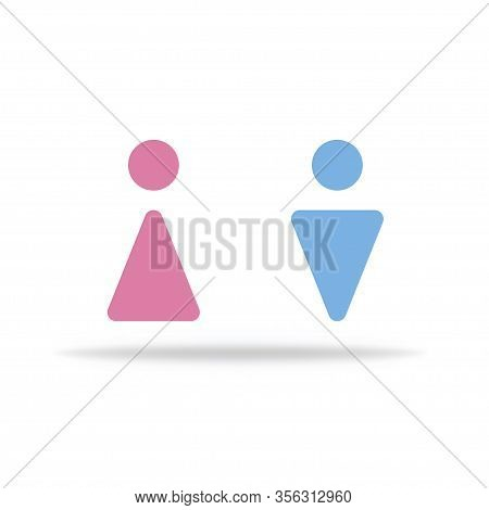 Wc Restroom For Men And Women In Public Place. Washroom Icons Set. Vector Eps 10