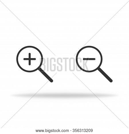 Lupe Icon In Miminalism. Magnifier With Shadow To Zoom In Or Zoom Out. Vector Eps 10