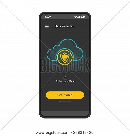 Cloud Storage Smartphone Interface Vector Template. Mobile App Page Blue Design Layout. Cybersecurit