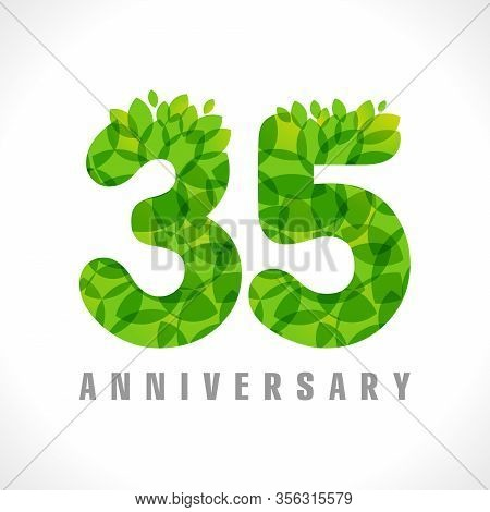 35 Th Anniversary Numbers. 35 Years Old Logotype. Age Congrats, Congratulation Concept With Leaves.