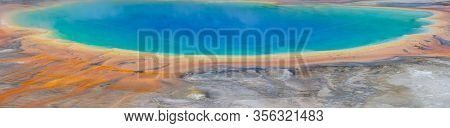 Panoramic Of Grand Prismatic Spring In Yellowstone