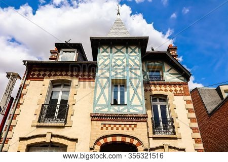 Beauvais, France - July 08, 2019: Old Half-timber House. Beauvais, France