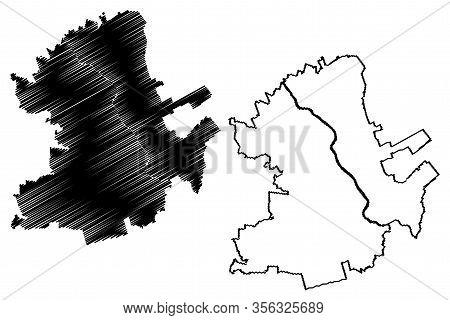 Hamilton City (new Zealand, North Island) Map Vector Illustration, Scribble Sketch City Of Hamilton
