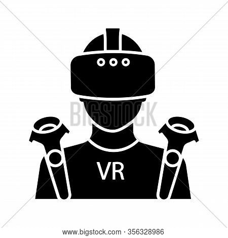 Vr Player Glyph Icon. Silhouette Symbol. Virtual Reality Player. Man With Vr Mask, Glasses, Headset