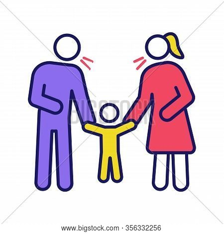 Parents Scolding Child Color Icon. Mother And Father Discipline Kid. Parents Arguing And Punishing S